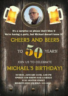 Beer Cheers Invitation Adult Birthday Grooms Party by StudioDMD