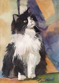 Tuxedo cat Watercolor Painting by creativeartistic