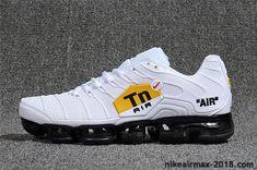 526aa8076a79 Hot Nike Air VaporMax TN KPU Mens Sneaker White Black For Sale Nike Air Max  Plus