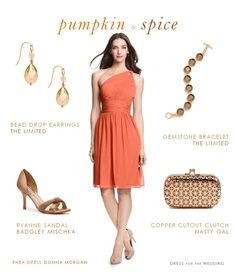 Orange Bridesmaid Dress / Pumpkin & Spice Wedding Style Idea