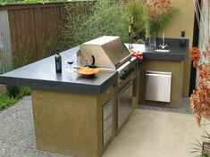 Contemporary Patio Outdoor Kitchen Design, Pictures, Remodel, Decor and Ideas Simple Outdoor Kitchen, Outdoor Kitchen Design, Patio Design, Outdoor Kitchens, Floor Design, Shape Design, Outdoor Kitchen Countertops, Concrete Countertops, Diy Concrete