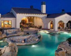 Gorgeous backyard with several outdoor seating areas and a fire PI in the middle of the pool! [ MexicanConnexionforTile.com ] #Spanish #Talavera #Mexican
