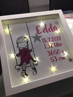 Kreative Ideen aus Stoff & Co Personalisierte Geburtstagsgeschenke, LED Bilderra. Plotter Silhouette Cameo, Baby Tie, Personalized Birthday Gifts, Xmas Gifts, Last Minute Gifts, Creative Gifts, Shadow Box, Petra, Picture Frames