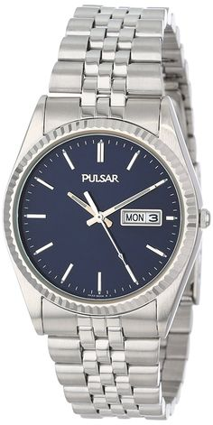 Pulsar Men's PXF277 Dress Silver-Tone Stainless Steel Watch >>> You can find more details by visiting the image link.