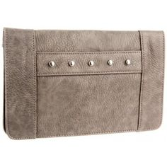 BCBGeneration Charcoal Grey Quinn Studded Front Strap Clutch Handbag www.BagLane.com