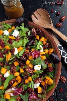 Harvest Salad with Butternut Squash, Maple Pecans, and Curry Fig Vinaigrette - afarmgirlsdabbles.com #salad