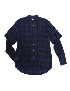 Public School NYC Blue Plaid Chambray Double Sleeve Shirt