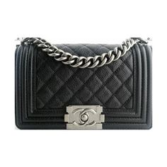 Chanel Le Boy CAVIAR Leather Small Size Black Color Flap Bag 2014 Fall... ❤ liked on Polyvore featuring bags, handbags, leather flap bag, leather purse, 100 leather handbags, chanel purses and chanel bags