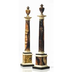 An assembled pair of English Blue John, white marble and Ashford black marble columns late / early century Estimate — USD LOT SOLD. Castleton Derbyshire, John Stones, Marble Columns, Grand Tour, Black Marble, 19th Century, Auction, English, 18th
