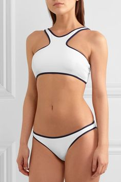 White and navy stretch-polyamide Slips on 86% polyamide, 14% elastane Hand wash Lotion, sunscreen, oil and chlorine can cause discoloration of this item; this is not a manufacturing defect. Please follow care instructions to keep your swimwear in the best condition Made in Italy