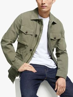 Buy John Lewis & Partners Garment Dye Ripstop Field Jacket, Olive from our Men's Coats & Jackets range at John Lewis & Partners. Green Jacket Outfit, Army Surplus, Signature Look, Plain Shirts, Field Jacket, Best Jeans, Green Man, John Lewis, Types Of Shirts