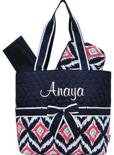 Personalized Diaper Bag Navy Blue Ikat Monogrammed ... LOVEEEE