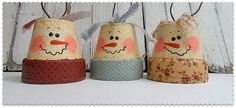 Vintage Clay Pot Snowman Ornaments from @Amanda Formaro