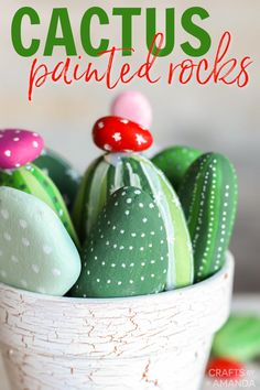 Learn how to make a clay pot garden full of cactus painted rocks! These DIY instructions show just how easy they are to make. #craftsbyamanda #paintedrocks Easy Flower Painting, Cactus Painting, Pebble Painting, Rock Painting, Summer Art Projects, Diy Craft Projects, Project Ideas, Easy Crafts, Diy And Crafts