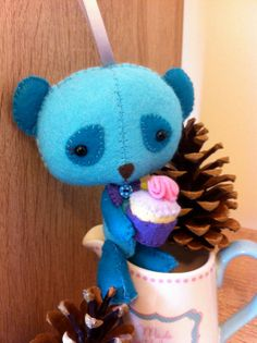 Ted bear plush. Turquoise Blue hand sewn felt toy. by WinnieAndTed, £18.00