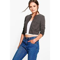 Boohoo Janey Ponte Crop Edge to Edge Jacket (£12) ❤ liked on Polyvore featuring outerwear, jackets, grey, gray bomber jacket, grey puffer jacket, ponte jacket, cropped puffer jacket and bomber jacket