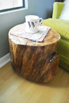 Awesome Pine Wood Tree Stump End Tables With Maple Wood Tile Floor Also Canvas Green Sofa And Maple Wood Tile Floor For Apartment Tree Stump End Tables Ideas