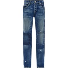 AMO     Tomboy Patchwork Mid Rise Jeans (595 BGN) ❤ liked on Polyvore featuring jeans, pants, bottoms, denim, light wash, relaxed jeans, denim jeans, medium rise jeans, light wash jeans and blue denim jeans