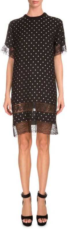 Givenchy Star-Print Lace-Inset Shift Dress, Black