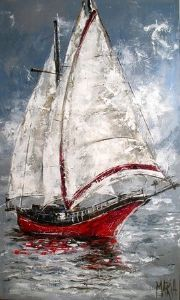 Rooi Seiljag 20081130 900 x 1500 Sailboat Art, Sailboat Painting, Sailboats, Canvas Painting Landscape, Large Painting, Art Drawings Sketches, Pictures To Paint, Artist Art, Watercolor Paintings