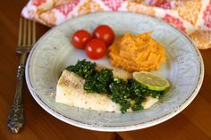 What's green & tasty as part of Sunday Dinner? Baked Cod with Chimichurri Sauce!