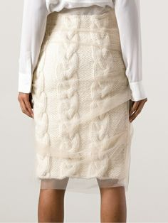 Simone Rocha Layered Knitted Pencil Skirt in White - Lyst