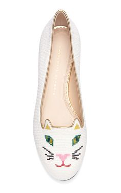 Off White Kitty Flat by Charlotte Olympia. Cutest shoes ever.