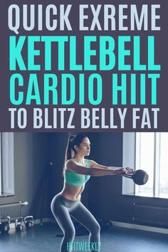 This extreme kettlebell cardio workout will get you hot swetay and burning belly fat like crazy. Kettlebell Workouts For Women, Hiit Workouts With Weights, Weights Workout For Women, Hiit Workouts For Beginners, Full Body Hiit Workout, Kettlebell Cardio, Hiit Workout At Home, Weight Training Workouts, Fat Burning Workout