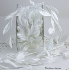 Large White Satin Leaves Ribbon by the yard, Leaf Ribbon, Crafts, Weddings, Invitations, Sewing, Home Decor, DIY Wedding, Gift Wrap
