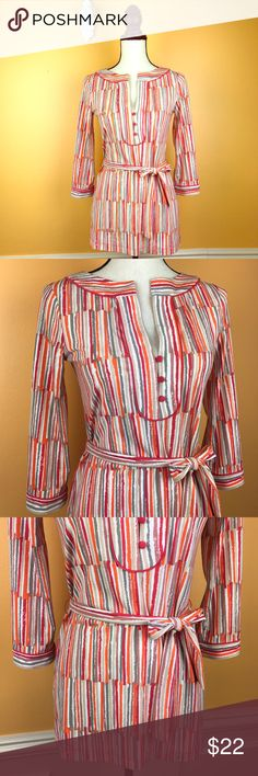 BCBGMaxAzriaStriped Tunic Tie Waist Belt Sz XS Women's Size XS 3/4 Sleeve Pink, Grey, Tan, and Oranage Tunic Top with Three button v-neck detail and belted tie waist. Perfect condition. No flaws or signs of wear or wash. Materials: 95% Polyester, 5% Spandex. Measurements: Underarm to Underarm: 16in, underarm to bottom of shirt: 18.5in, underarm to end of sleeve: 11.5in. Machine wash cold. BCBGMaxAzria Tops Blouses