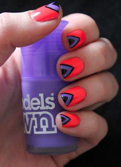 Models Own Ice Neons Nail Art Tutorial! Neon #pink #purple #black #nails