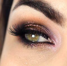 Pink + copper eye shadows