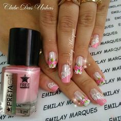 Unhas decoradas com vintage floral1.11 Dimond Nails, Finger, French Pedicure, Paws And Claws, Pretty Nail Designs, Pretty Nails, My Nails, Manicure, Nail Polish