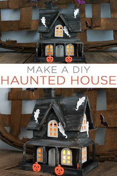Make this DIY haunted house in minutes! A great craft idea for the kids to help with and this one will really light up your mantel or even porch on Halloween night! Treatment Projects Care Design home decor Diy Halloween Village, Halloween Wood Signs, Cute Halloween Decorations, Halloween Arts And Crafts, Halloween Haunted Houses, Halloween Projects, Halloween Fun, Halloween Witches, Halloween Templates
