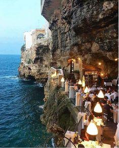 Hotel Ristorante Grotta Palazzese (Polignano a Mare, Italie - Pouilles) Italy Vacation, Italy Travel, Vacation Spots, Vacation Places, Tourist Spots, Vacation Packages, Places To Travel, Places To See, Travel Destinations