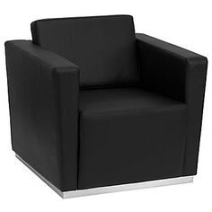Flash Furniture HERCULES Trinity Series Contemporary Leather Chair with Stainless Steel Base, Black