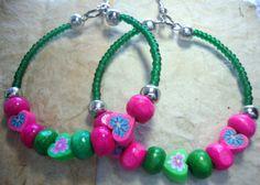 Hoop Earrings Green and Pink Summer & Beach by KidsAtHeartBeadShop