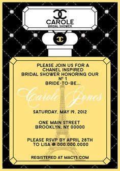 Chanel Inspired Bridal Shower Invitation  by ThePartyFavorDiva, $19.95