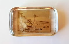 Antique Glass Paperweight Depicting Clock Tower Seafront Skegness, Vintage Edwardian Paper Weight, Rectangular Old Photo Picture, England by darcyelizavintage on Etsy