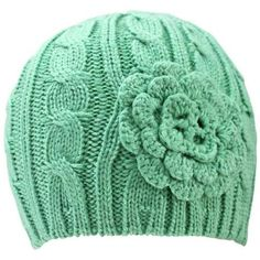 Luxury Divas Sage Green Cable Knit Thick Winter Beanie Hat With Rosette - Walmart.com