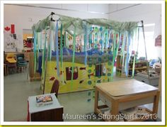 Yellow submarine in preschool! This post shows how a teacher in a parent participation preschool helped her students create a submarine to play in!