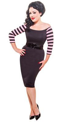 The Vamp dress in black with pink striped sleeves! Grab yours at www.modemerr.com!