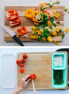 Cutting Board Meal Prep Solution Great For Small Spaces – TidyBoard Easy Meal Prep, Quick Easy Meals, Cooking Tools, Working Area, Food Preparation, Safe Food, Food To Make, Small Spaces, Cutting Board