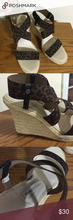 "Dana Buchman wedge sandals Sz 7.5 med animal print wedge sandals. 4"" high wedge, elastic top straps. Great condition Dana Buchman Shoes Wedges"