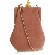 Saint Laurent Bijoux velvet shoulder bag (33,060 THB) ❤ liked on Polyvore featuring bags, handbags, shoulder bags, light pink, vintage purse, vintage shoulder bag, vintage handbags, yves saint laurent purses and brown purse