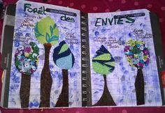 armonyann: Challenge Artjournal et Gribouillages # 94 : Forêt... 17 Mars, Challenge, Doodle Drawings, Art Journaling, Drill Bit, Felt Fabric, Bonjour