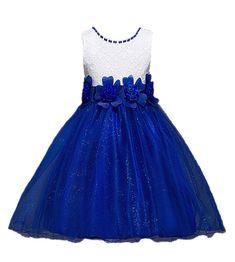 Girl long full skirt denim blue jean w// lace modest size 2 3 4 5 6 7 8 10 12 14