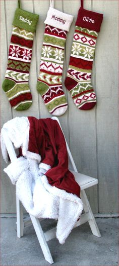 Even though store bought, could make similar hand knit stockings -- Personalized Knitted Christmas Stockings Red Green by Knitted Christmas Decorations, Knitted Christmas Stockings, Christmas Knitting, Christmas Projects, Christmas Crafts, Red Christmas, Knitting Patterns Free Dog, Ornament Pattern, Cute Stockings