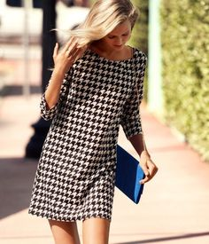 #fashion #dress #print #houndstooth #pretty