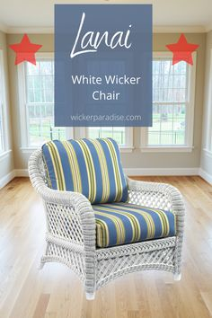 White wicker chair lanai collection offers deep seating comfort for your sunroom, porch, living room and other home decor spots. Porch wicker furniture at its best.